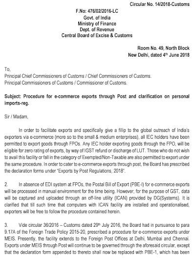 Procedure for e-commerce exports through post and clarification on personal imports