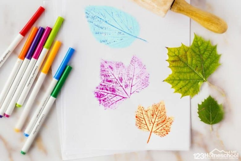 leaf prints with markers