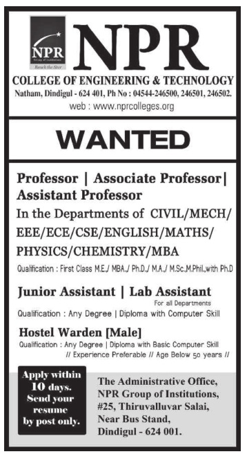 NPR College of Engineering & Technology, Dindigul, Wanted Faculty ...