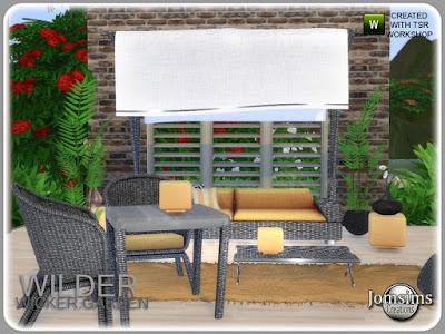 Уайлдер плетеный садовый набор Уайлдер плетеный сад для The Sims 4 летний сад, плетеный стиль, в 4 оттенках. диван. Разное деко часть 2 для дивана. коврик из искусственного меха журнальный столик. обеденный стол. Обеденный стул. настольная лампа. настольная лампа поменьше. большой плакат для стены. место. Cusions deco для дивана. еще маленький отпуск, с этим новым садом. Автор: jomsims
