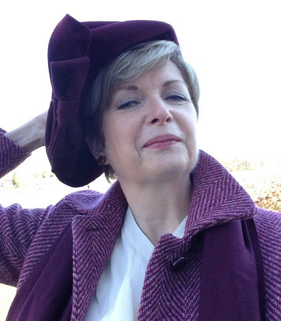 Vintage 40's hat, Max Mara coat, Holt Renfrew silk blouse, Nordstom scarf, Anne Marie Chagnon earrings from Magpie Jewellry