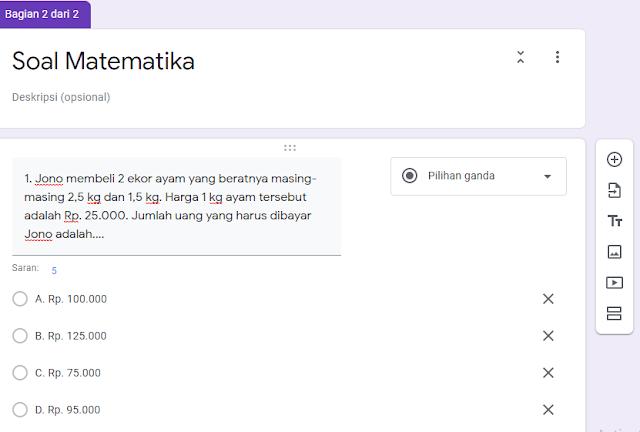 Soal online google formulir