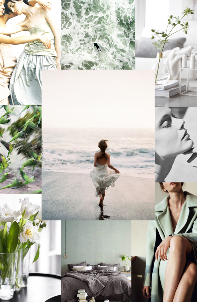 Spring mood board: new beginnings. Photos contemporary living room via Stylizimo, Annie Morton & Erin O'Connor in Donna Karan Spring/Summer 1999 campaign photographed by Peter Lindbergh, quote via La La Lovely, Frida Gustavsson photographed by Benjamin Vnuk & styled by Virginie Benarroch for Glamour France May 2015, white tulips via Trendenser, beautiful white kitchen photographed by Gyrate Lemche for BoligLiv, indoor plants via My Unfinished Home, colour swatches via Colour Specialist, green & grey bedroom via Decouvrir Design, Hermes Vestiaire d'Hiver 2015 Autumn/Winter 2015 catalogue photographed by Zoe Gherner, green living room via Domino magazine, rooftops of Paris via Etsy, ocean via Idealmente Tumblr, leaves & rain drops via Artist Daily, quote via Behance, Hermes Un Jardin sur le Toit campaign via Hermes, green parrots via The Guardian, Rochas Spring/Summer 2015 via Vogue Runway, Out to Sea abstract by Beth Nicolas, editorial via Once Wed, quote via The Darling Journal via www.fashionedbylove.co.uk british fashion blog