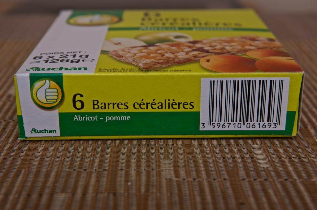 Barres Céréalières à l'Abricot et à la Pomme (6x21g) par Auchan ...