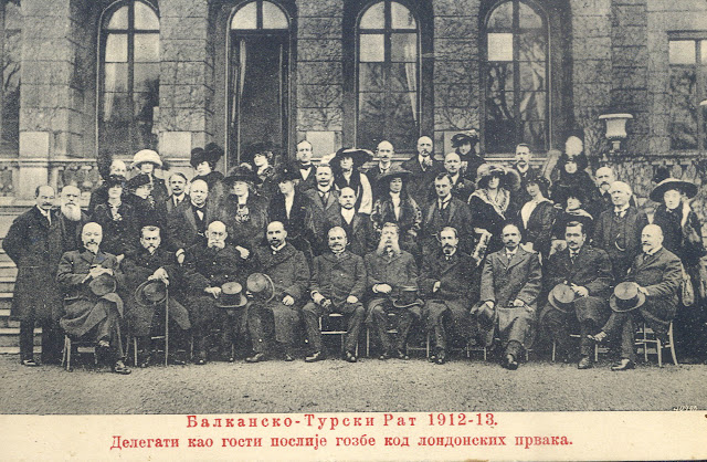 Postcard - Balkan - Turkish War 1912-13 - Delegates signatories of the Treaty of London (Signed on 30 May during the London Conference of 1912–13)  as guests their London hosts
