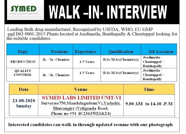 Symed Labs | Walk-in interview for Production & Quality control on 23 Aug 2020