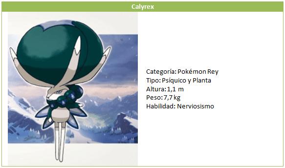 Calyrex Octava generación Galar Nintendo Pokémon Direct Psíquico Planta Nerviosismo Las nieves de la coroona Pase de Expansión Espada Escudo