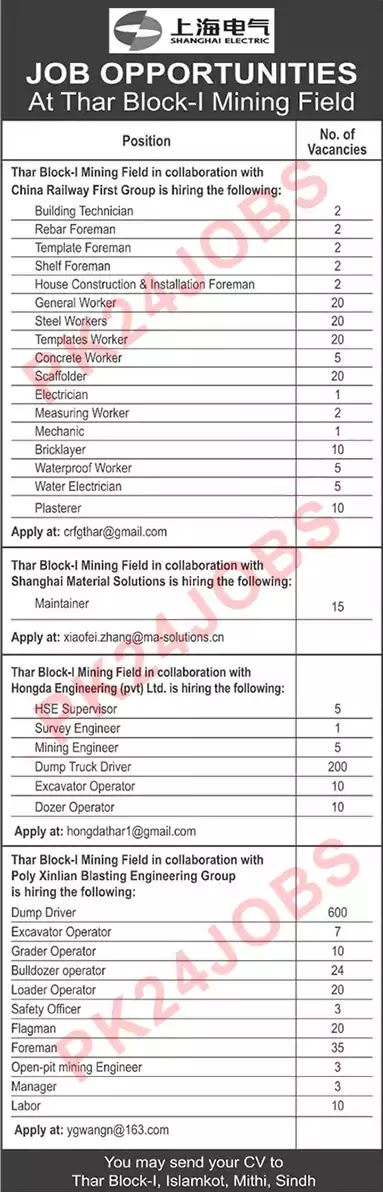 Shanghai Electric Jobs August 2020