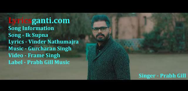 Prabh Gill Ik Supna Lyrics for Latest Punjabi Song 2020