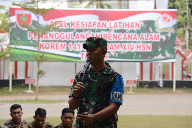 Korem 141/Tp Gelar Apel Kesiapan Latihan Penanggulangan Bencana Alam di Gowa