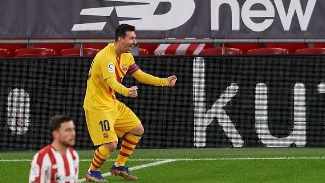 ميسي يقود برشلونة للفوز علي بلباو بثلاثية