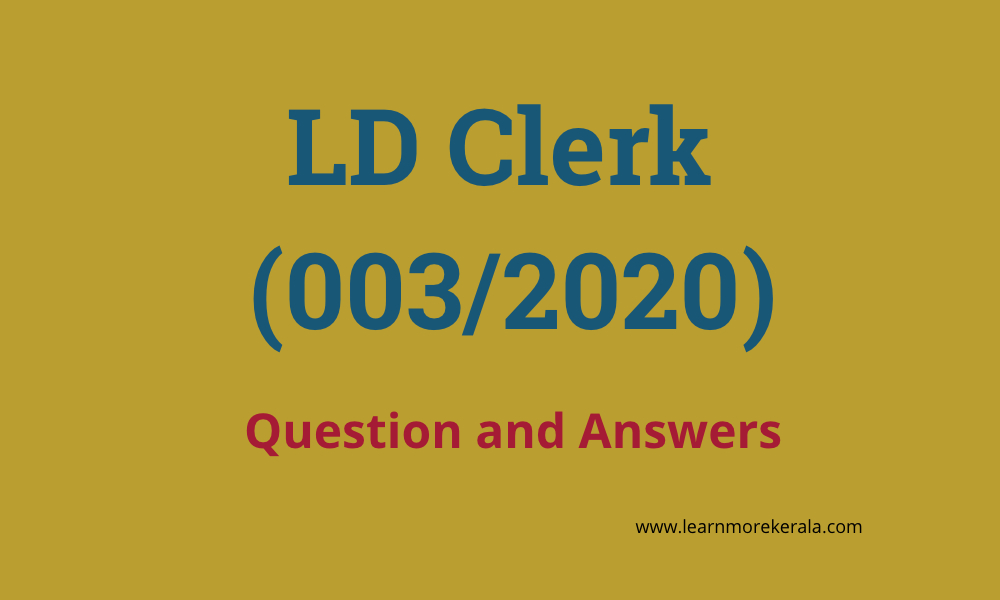 LD Clerk (003/2020) Question and Answers