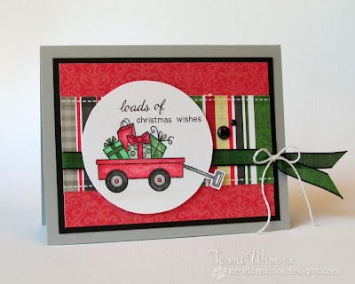 Wagon of Gifts Christmas Card by Tessa Wise for Inky Paws Challenge 4