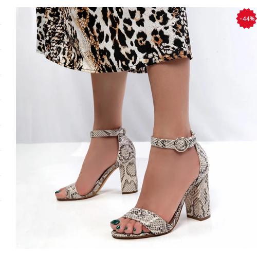 Sandale de zi de vara cu toc gros si imprimeu piele de sarpe
