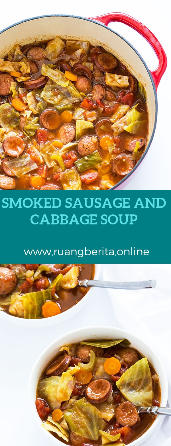 Smoked sausage and cabbage soup