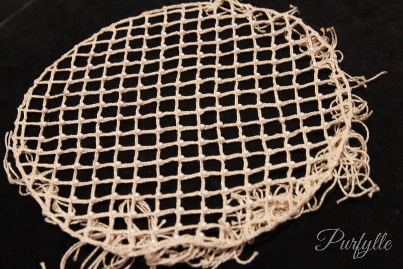 bobbin lace caul hairnet with pearls