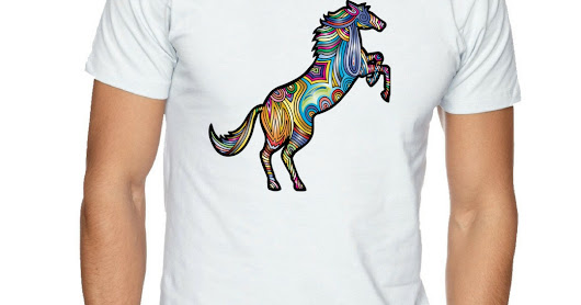 T-SHIRT HORSE MULTICOLOR IN WHITE