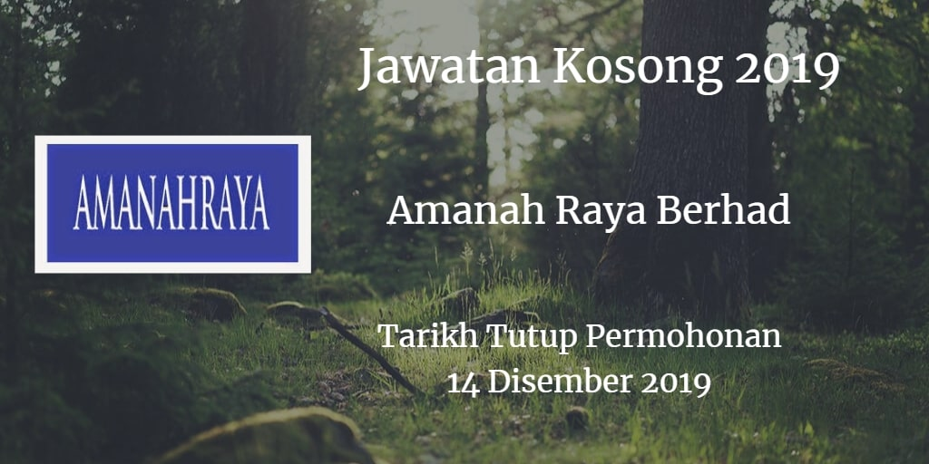 Jawatan Kosong Amanah Raya Berhad 14 Disember 2018