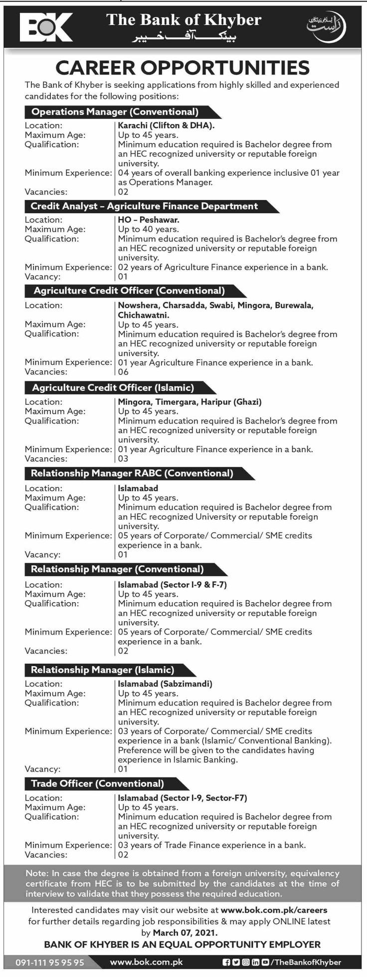The Bank of Khyber BOK Karachi Jobs 2021 Latest For Operation Manager, Credit Analyst, Relationship Manager & more