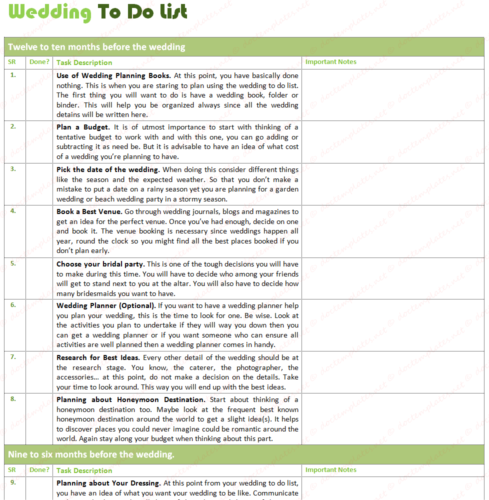 Wedding To Do Lists: Document Templates: BEST WEDDING TO DO LIST (WITH
