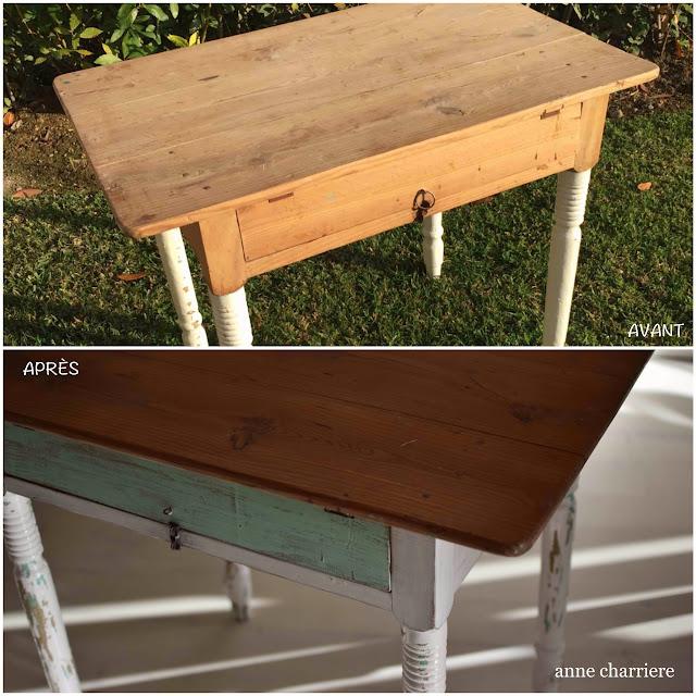 www.annecharriere.com, ancienne table cuisine, peinture de lait, homestead house milk paint,