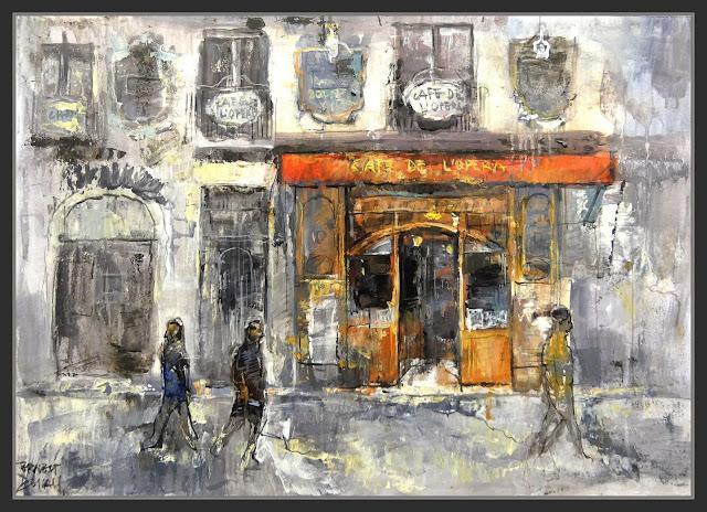 CAFE DE L'OPERA-BARCELONA.PINTURA-ART-LA RAMBLA-RAMBLES-CAFETERIES-FAÇANA-PORTA-PINTOR-ERNEST DESCALS