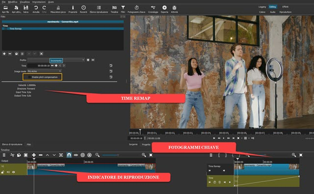 come applicare il time remap a un video