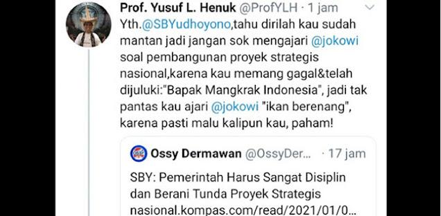 """Kataian SBY """"Bapak Mangkrak Indonesia"""", Yusuf Leonard Henuk Tidak Mendidik Dan Tak Cerminkan Gurubesar"""