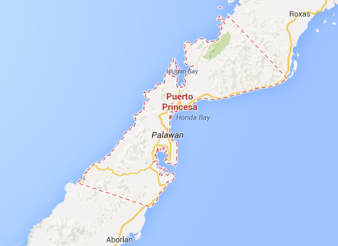 Map of Palawan showing the location of Puerto Princesa City