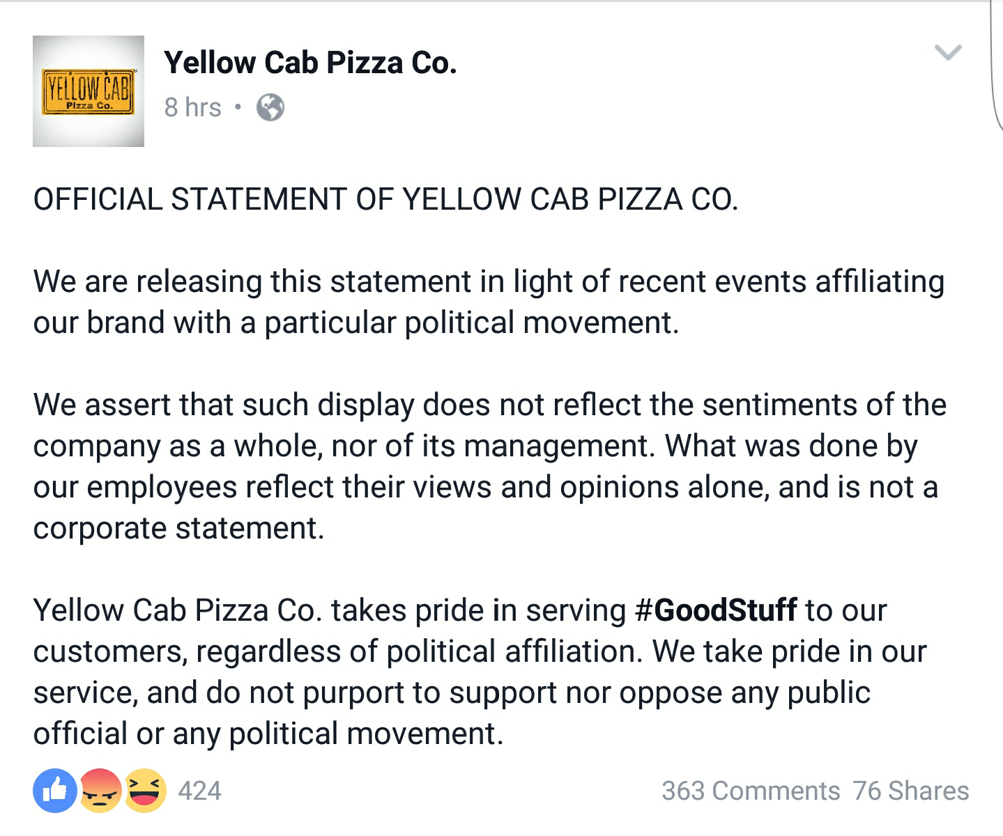 fashion pulis fb scoop yellow cab issues statement reiterates fb scoop yellow cab issues statement reiterates that employee behavior does not reflect company policy