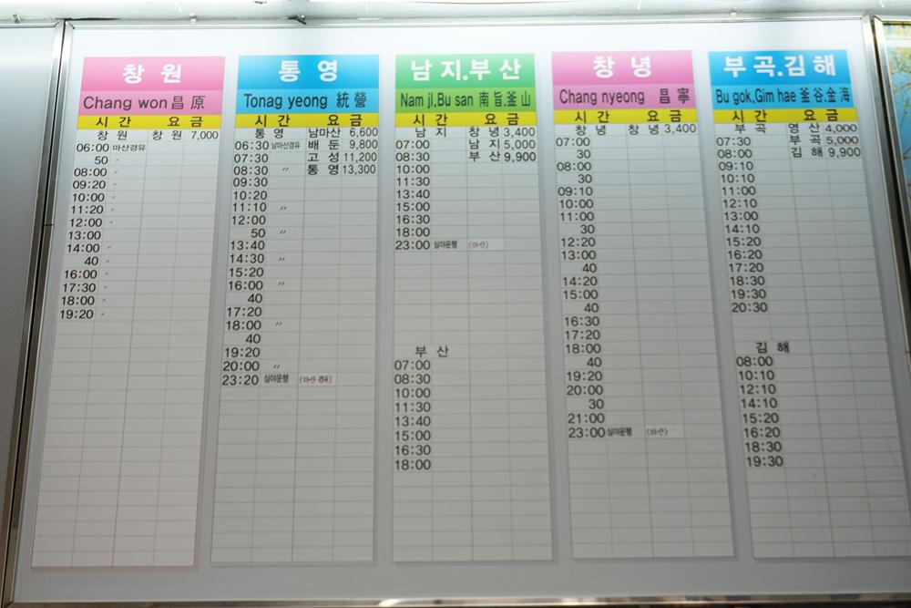 Complete Schedule Daegu West Intercity Bus Terminal