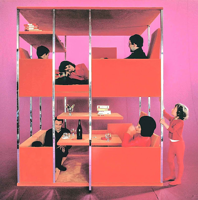 a 1966 Verner Panton compressed living space in red