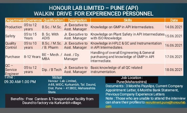 Honour Labs | Walk-in interview for Production/QC/WH/EHS/ESD on 14 to 18th Jun 2021