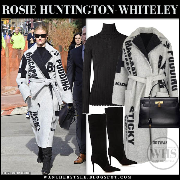 Rosie Huntington-Whiteley in grey wool belted letter print celine coat and black slouchy boots winter celebrity style february 6