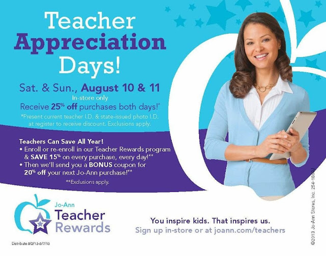 Teacher Appreciation Days at Jo-Ann's | enjoytheviewblog.com