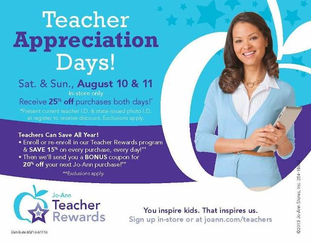 Teacher Appreciation Days at Jo-Ann's   enjoytheviewblog.com