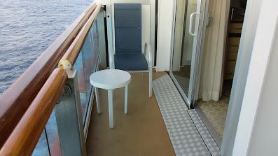 Handicapped accessible balcony cabin's balcony on Princess Cruises Royal Princess cruise ship