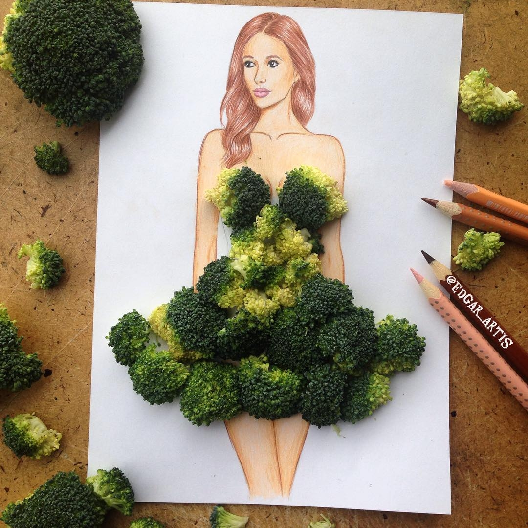 13-Broccoli-Edgar-Artis-Drink-Food-Art-Dresses-and-Gowns-Drawings-www-designstack-co