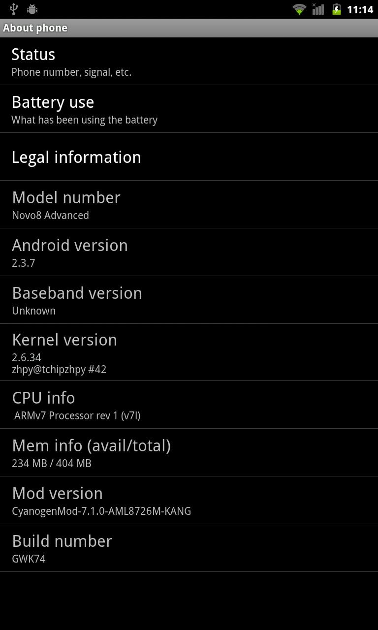 CyanogenMod 7 (unofficial) Port for Ainol Novo 8 Advanced