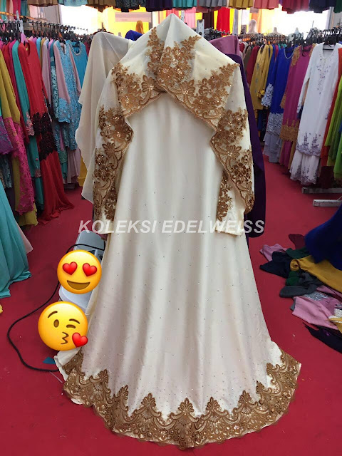 Dress Abaya Glam WarnaPutih Cream Lace Gold