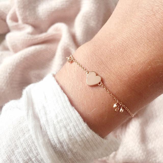 Christmas Jewellery Gift Guide | Daisy London Good Karma Little Heart Rose Gold Bracelet, Mococo