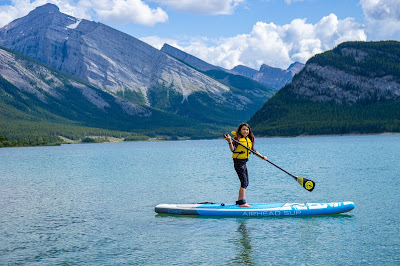 Stand up paddleboarding (SUP) on Spray Lakes Reservoir