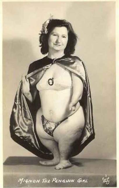 gambar orang aneh wanita dengan bentuk tubuh seperti penguin