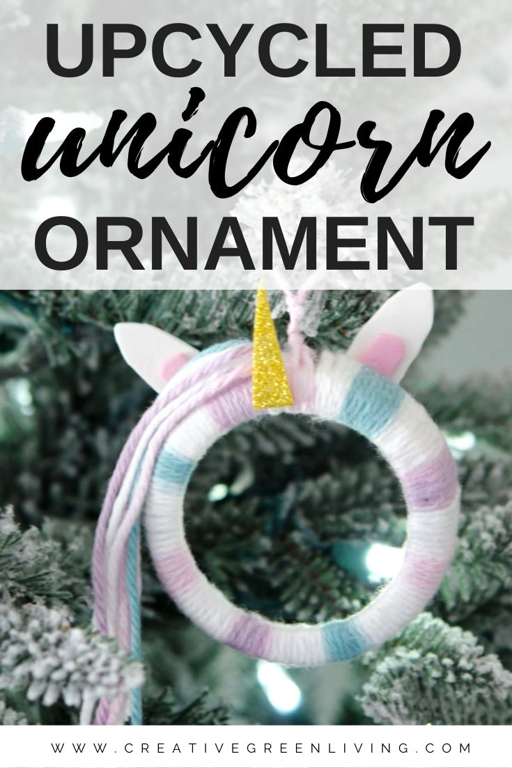 Learn how to make an easy DIY Christmas Ornament inspired by unicorns! This simple unicorn ornament tutorial shows you how to transform a mason jar ring into a cute unicorn with yarn and felt ears and a horn. Personalize the colors for a boy or girl or any of your kids' favorite colors. This is a great way to use up knitting and crochet yarn scraps! #creativegreenliving #creativegreenchristmas #christmasornament #unicornornament #unicorns #unicorncrafts