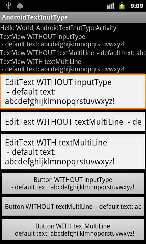 Android Coding: android text InputType and textMultiLine