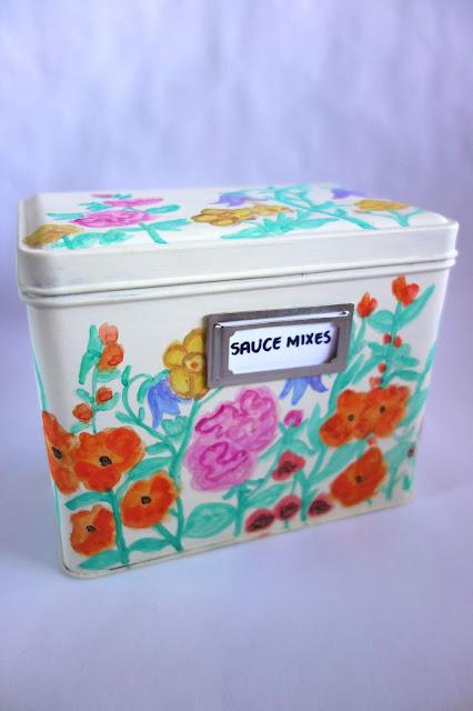 Tea Tin transformation, tea tin crafts, how to repurpose a tea tin, how to store food mixes, pantry storage ideas