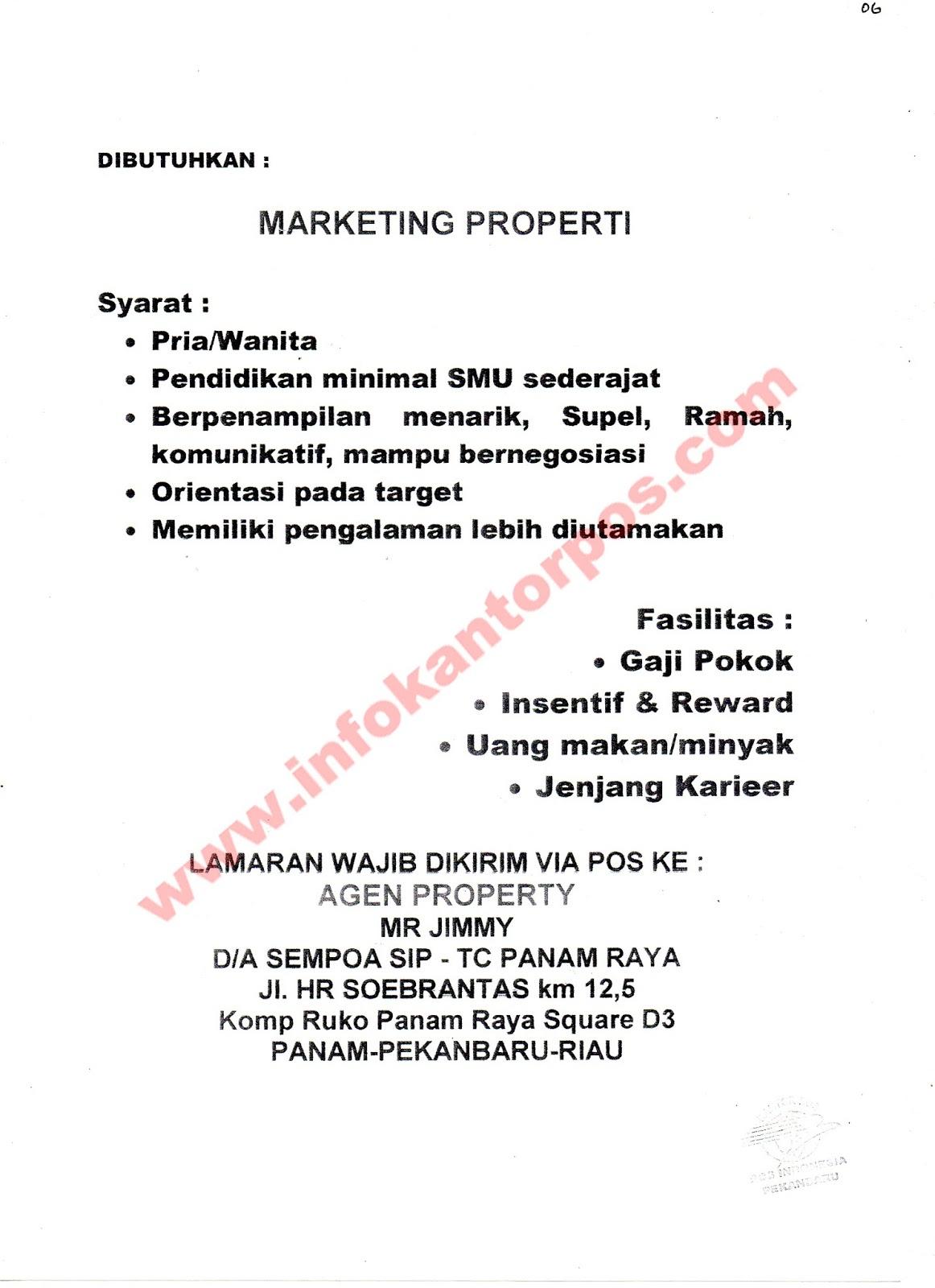 Lowongan Kerja Marketing Properti Juli 2017 Www Infokantorpos Com