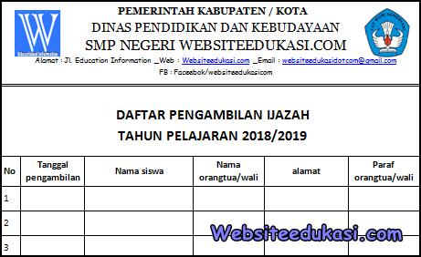 Format Daftar Pengambilan Ijazah 2019