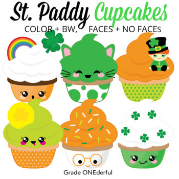 St. Patrick's Day Cupcakes Clip Art