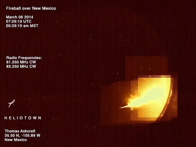Meteoro explotó sobre el centro de Nuevo México a las 07:29 UTC del 6 de marzo de 2014